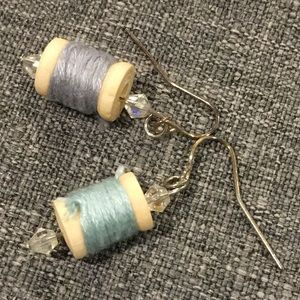Wooden Thread Spool Earrings. Handmade. OOAK